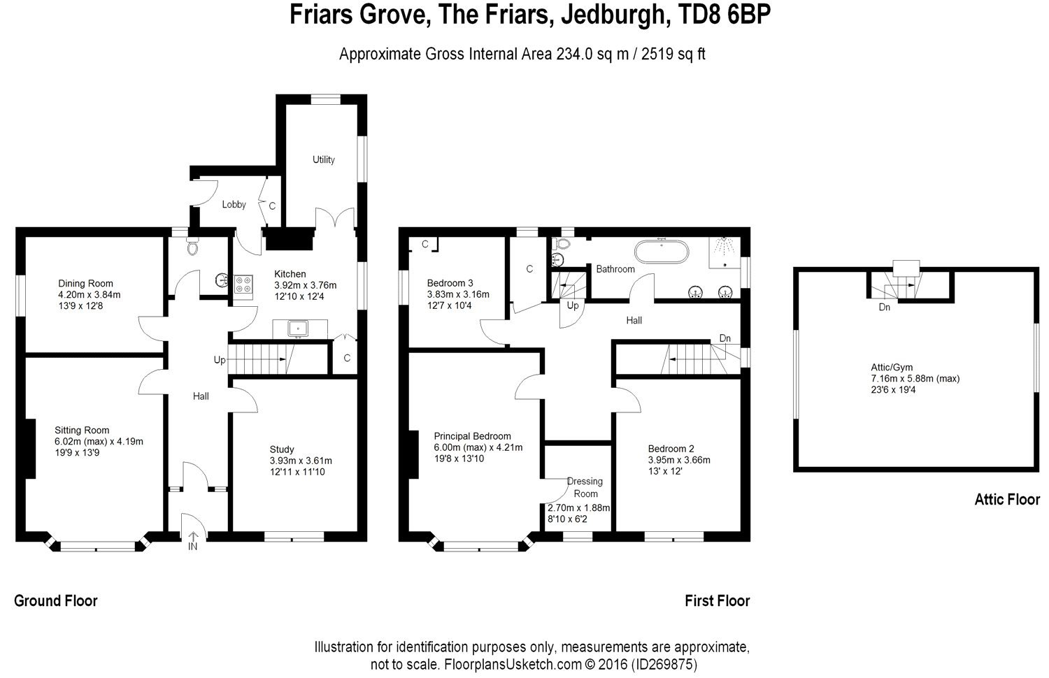 Floorplans for Friars Grove, The Friars, Jedburgh, TD8