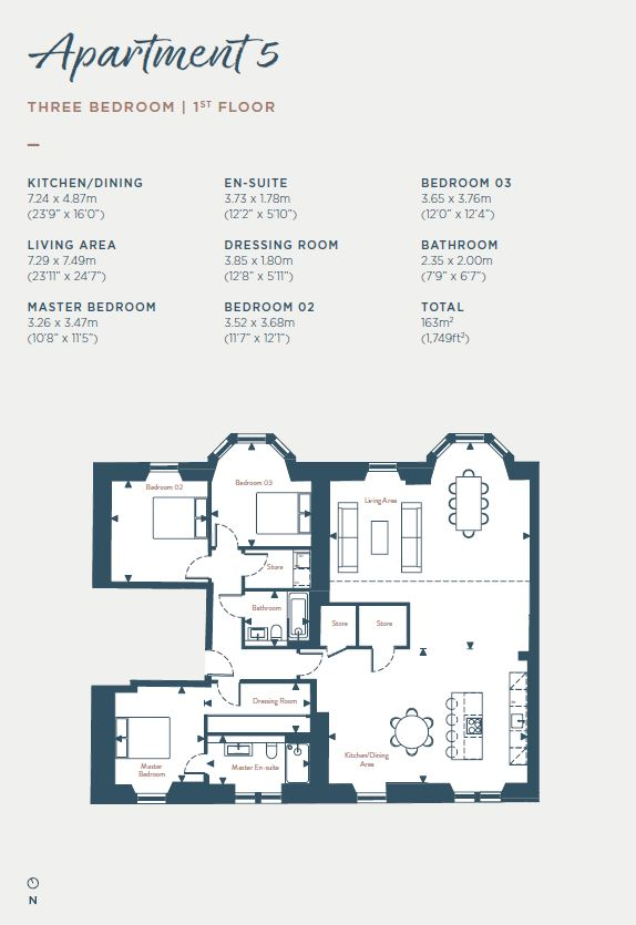 Floorplans for Apartment 5, South Learmonth Gardens, Edinburgh, EH4