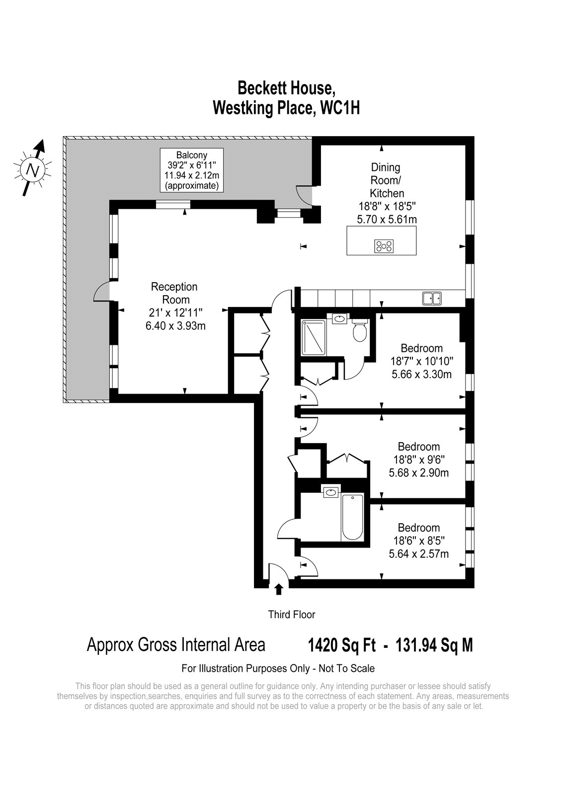 Bloomsbury Gardens, Westking Place, London, WC1H floorplan