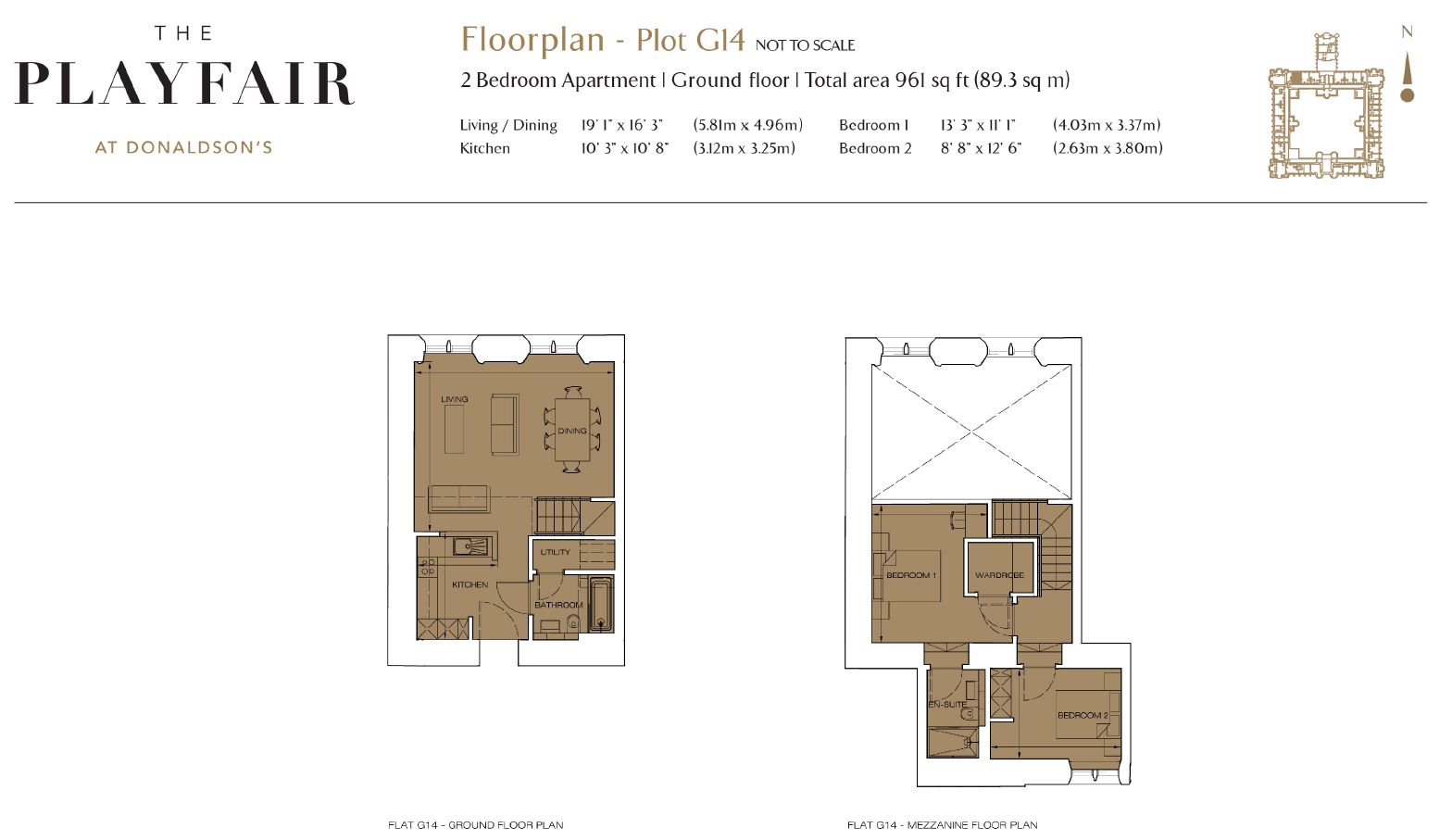 Floorplans for G14 - Donaldson's, West Coates, Edinburgh, EH12