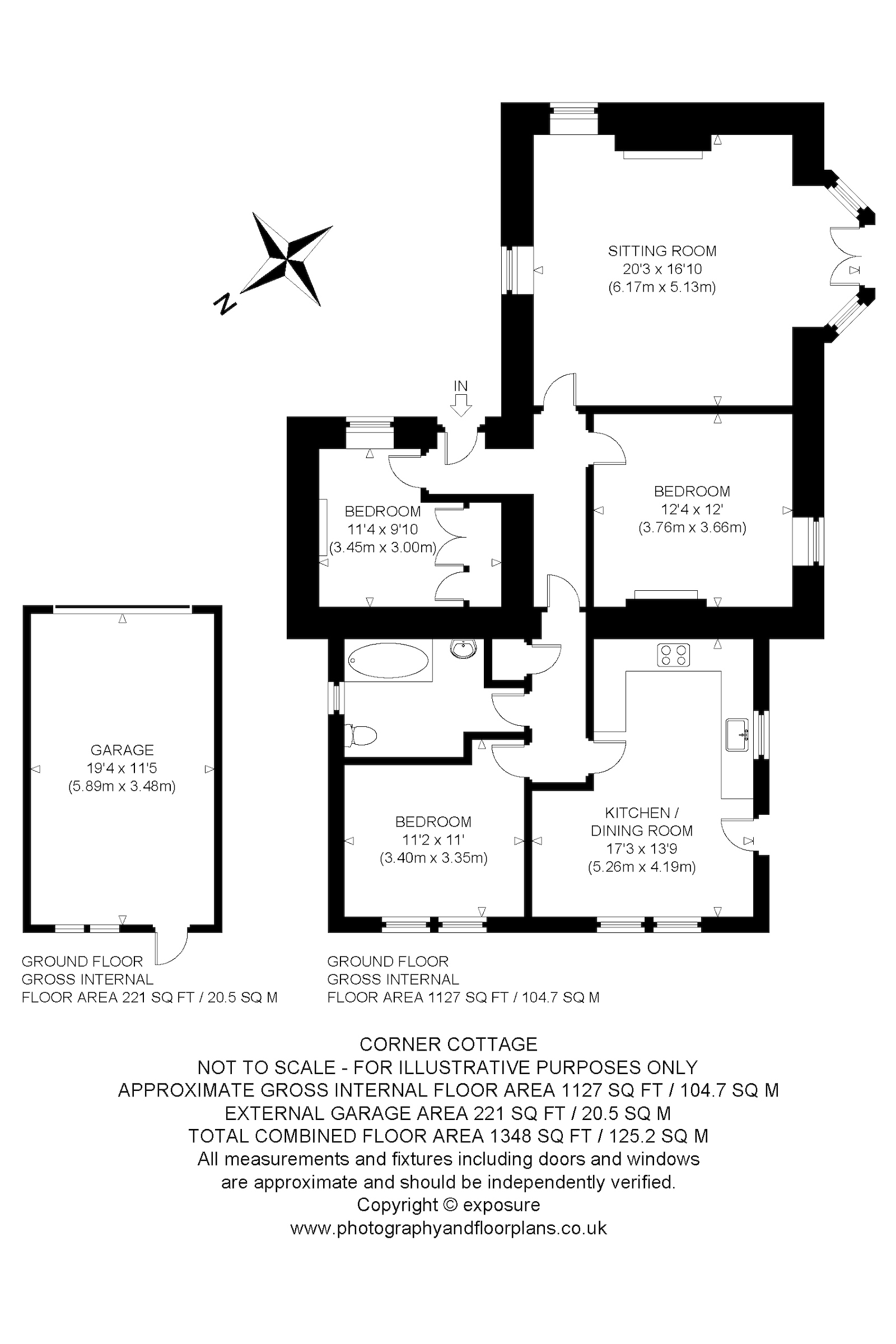 Floorplans for Corner  Cottage, By Newtyle, Angus, PH12