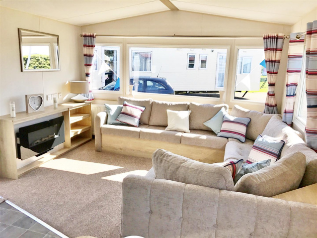 A Wonderful Family Caravan With An Open Plan Design This Comes Modern Neutral Fabrics And Plenty Of Comfortable Seating