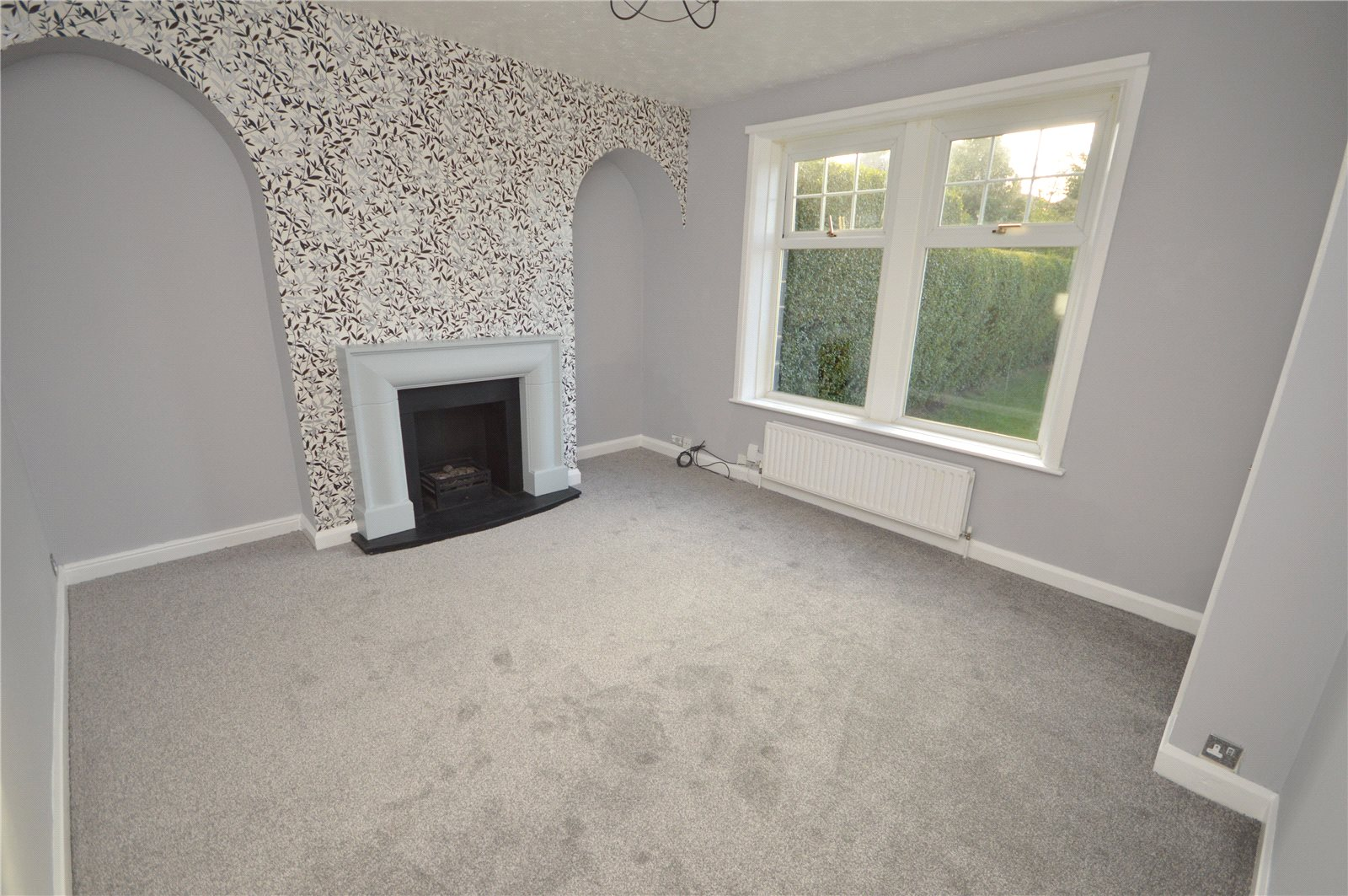 Property for sale in Yeadon, interior reception room with fireplace