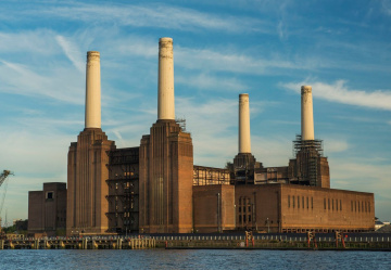 Battersea Power Station takes shape as iconic chimneys are restored
